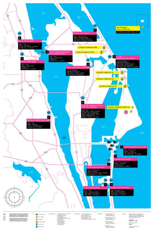 Kennedy Space Center launch viewing map