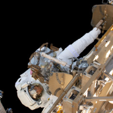 Christina Koch during her first spacewalk