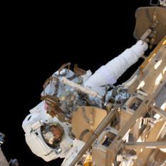 Christina Koch during her first spacewalk