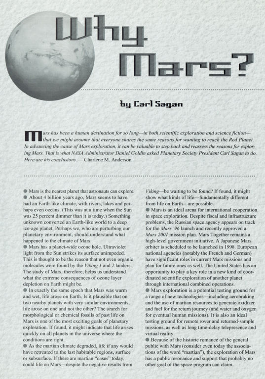 Why Mars? Essay by Carl Sagan