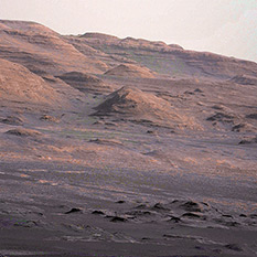 Telephoto view of the flank of Mount Sharp, Curiosity sol 17