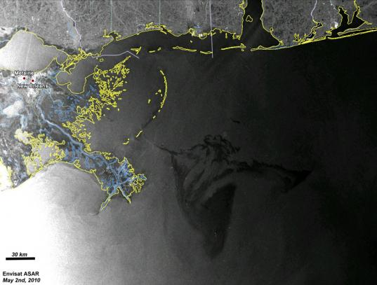Envisat images the Deepwater Horizon oil spill