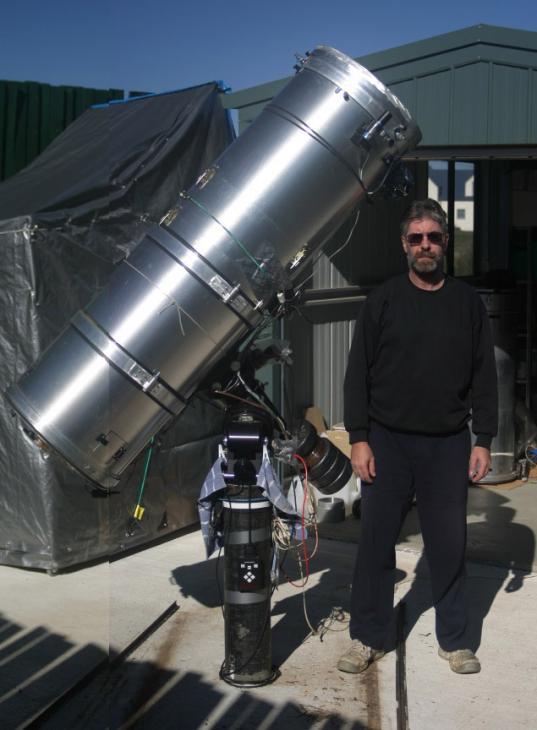 Anthony Wesley with his planet-imaging telescope