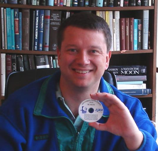 Bruce Betts with the IKAROS names disk