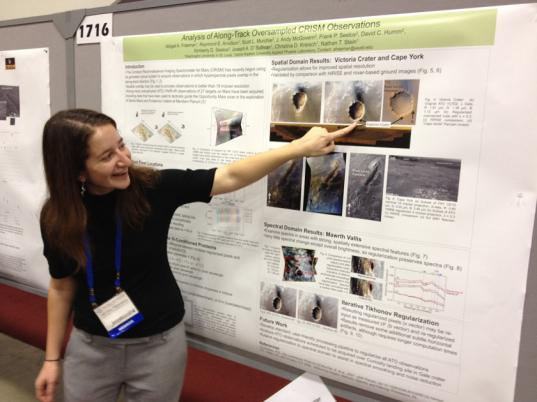 Abigail Fraeman presents her work at the 2011 American Geophysical Union meeting