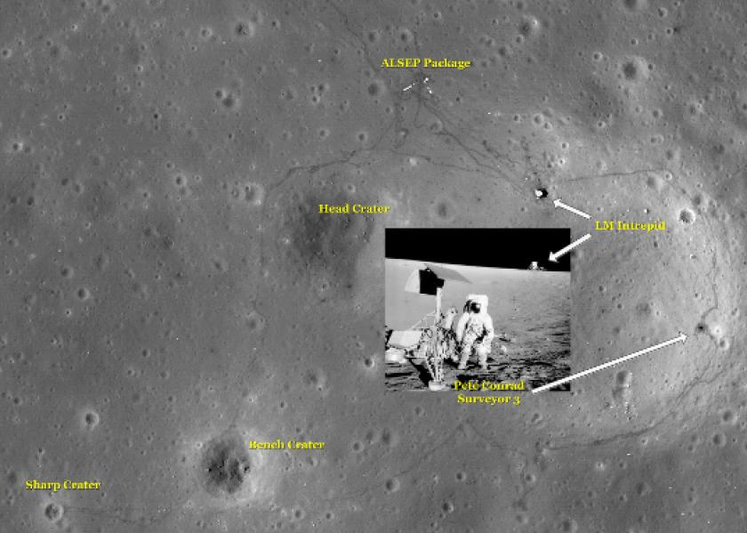 Apollo 12 site as seen by LRO