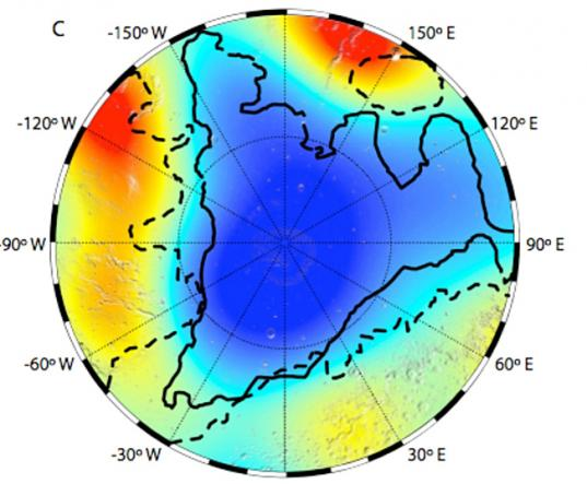 MARSIS map of dielectric constant of Mars north pole