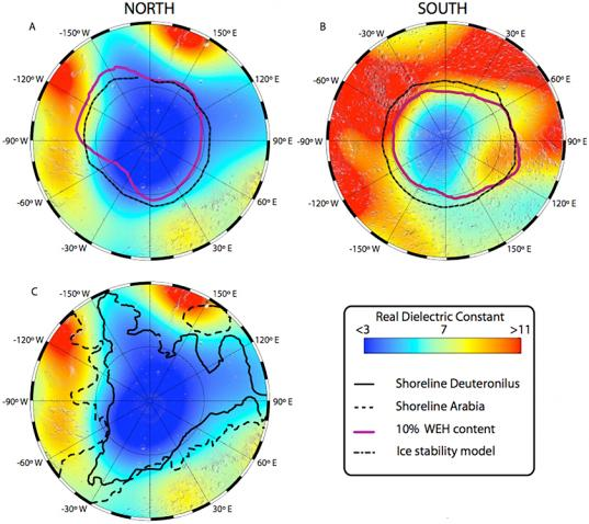 MARSIS maps of dielectric constant of Mars' poles