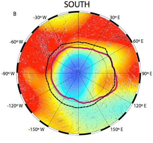 MARSIS map of dielectric constant of Mars south pole