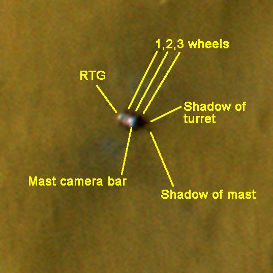 Detail view of Curiosity in ESP_028401_1755, landing plus 12 days, annotated