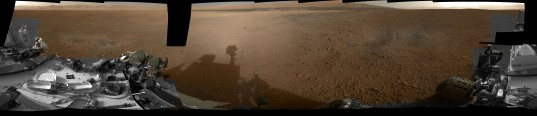Curiosity's Navcam panorama, colorized