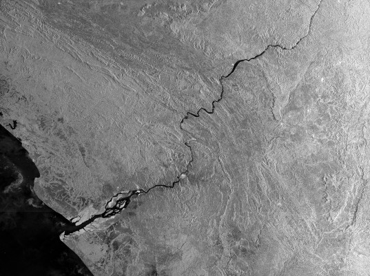 Synthetic aperture radar view of the Congo river