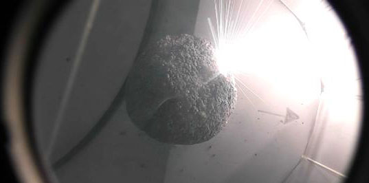 Laser Bees lab ablation of a porous rock sample