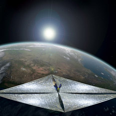 LightSail 1 Artist's concept against Earth