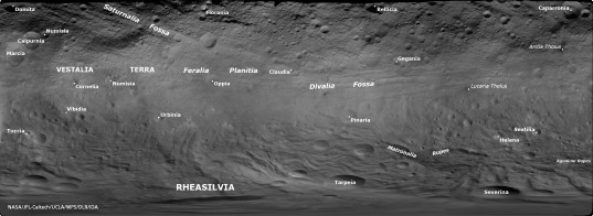 Vesta's place names as of January 2012