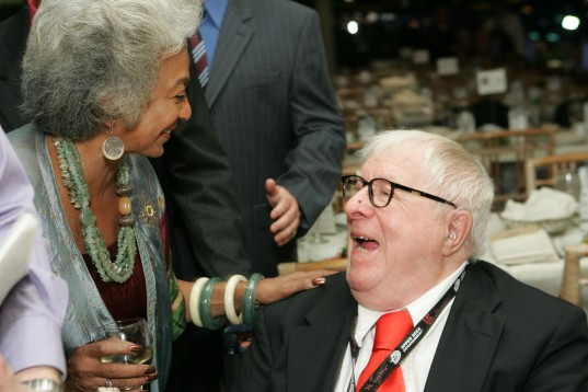 Nichelle Nichols and Ray Bradbury at The Planetary Society's 25th Anniversary Awards Dinner