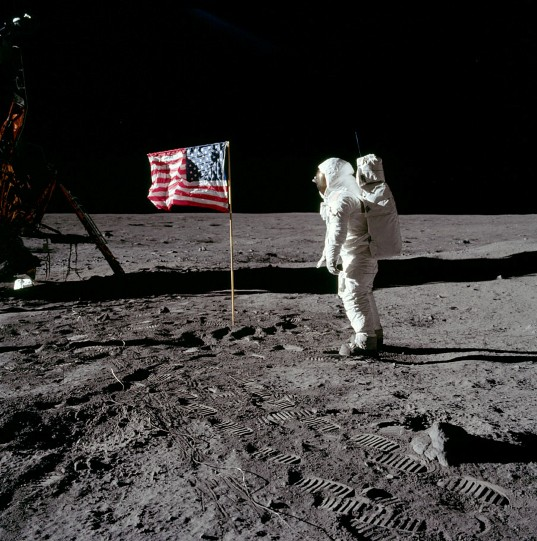 Buzz Aldrin Salutes the Flag on the Moon
