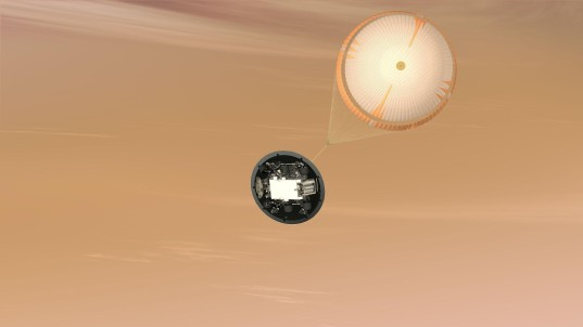 Curiosity descends under parachute