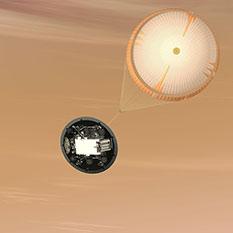 Curiosity descends under parachute