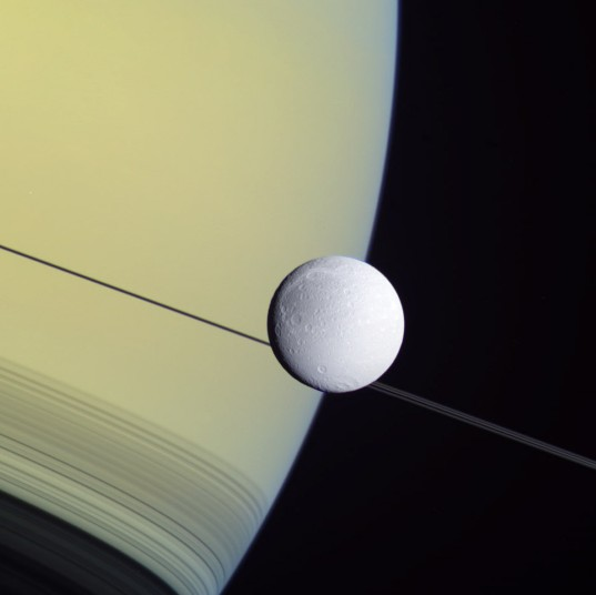 Dione and Saturn, 2 May 2012
