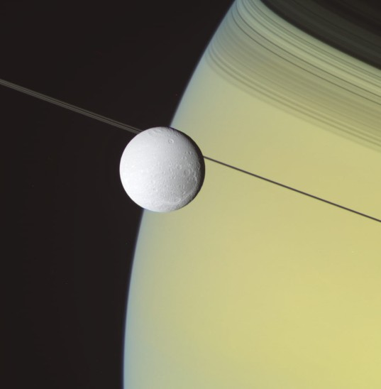 RGB color image processing: Dione and Saturn, May 2, 2012, step 3.