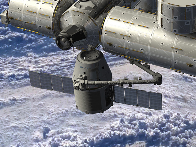 The Dragon Spacecraft, docked at the ISS