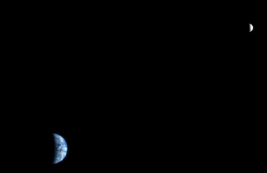 Earth and Moon as Seen from Mars Orbit