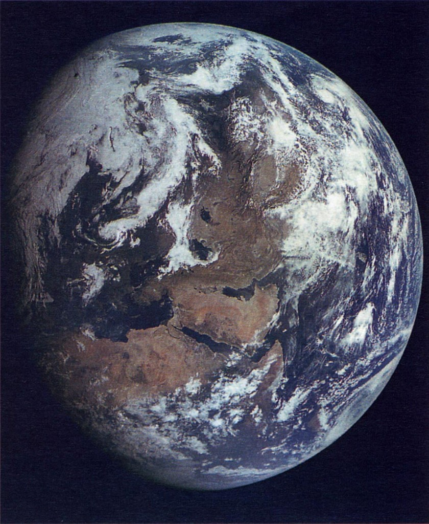 Zond 7 image of Earth