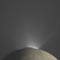 Fountains of Enceladus in Saturnlit color