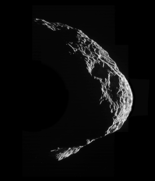 High-Resolution Mosaic of a Crescent Hyperion, 25 August 2011