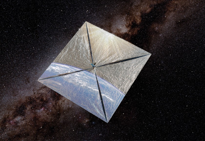 Lightsail 1 artist's concept with Milky Way background