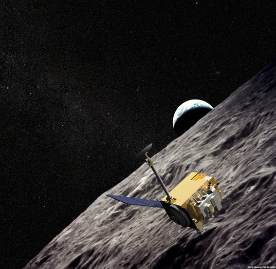 Lunar Reconnaissance Orbiter artist concept with starry background