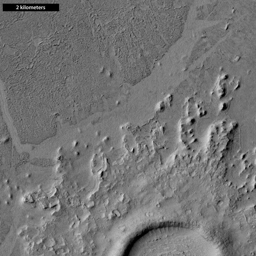 Channel northwest of a pedestal crater, Cerberus Palus, Mars