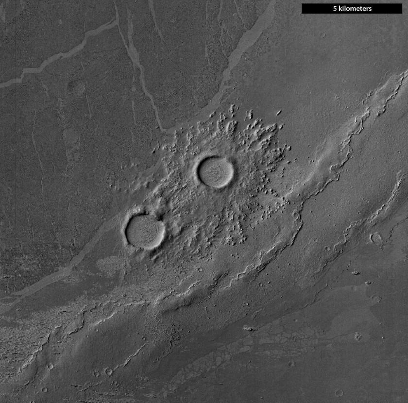 Pedestal crater in Cerberus Palus, Mars