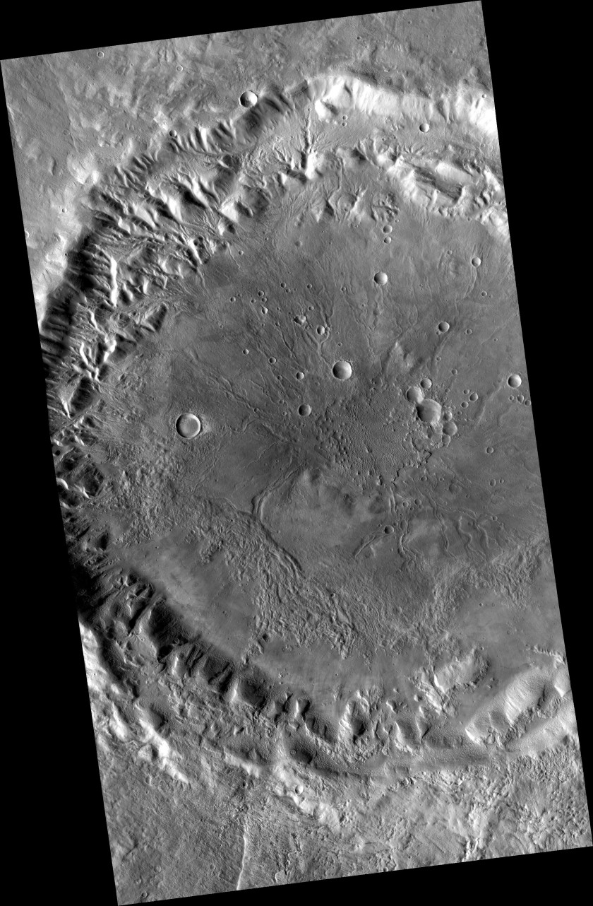 Crater within Tempe Terra, Mars, containing inverted channels