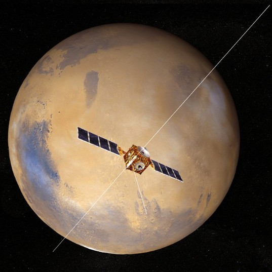 Mars Express artist concept with fully extended MARSIS booms