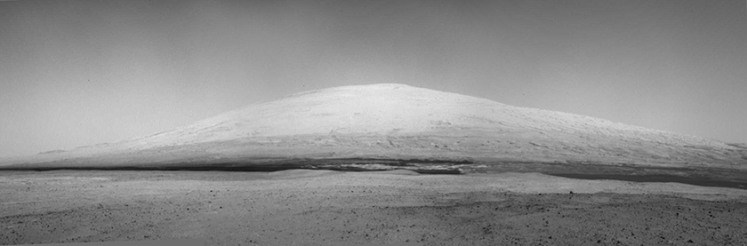 Gale's central mountain as seen from Curiosity's landing site