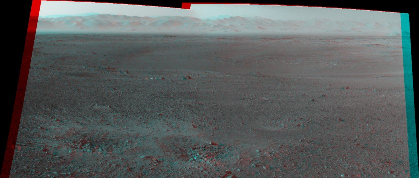 First two-frame Navcam mosaic from Curiosity (anaglyph)