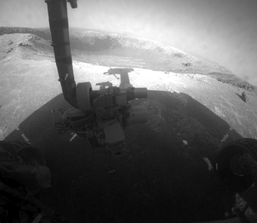 Hazcam view of Santa Maria crater, sol 2464
