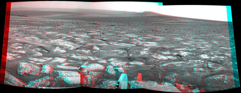 Odyssey Crater, Cape York, and western Endeavour rim, sol 2678 (3D anaglyph)