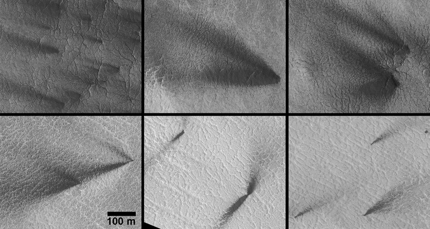 Detailed views of south polar dust fans