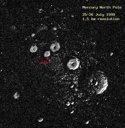 Radar image of Mercury's north pole