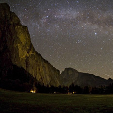 The Milky Way over Yosemite Valley