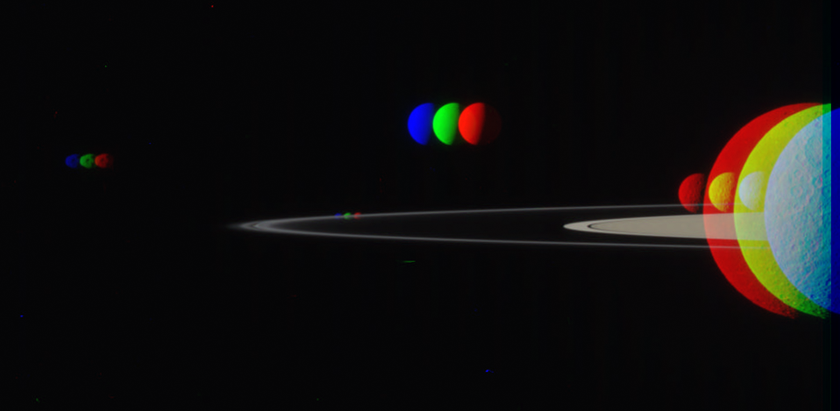 A gaggle of moons (intermediate processing step)
