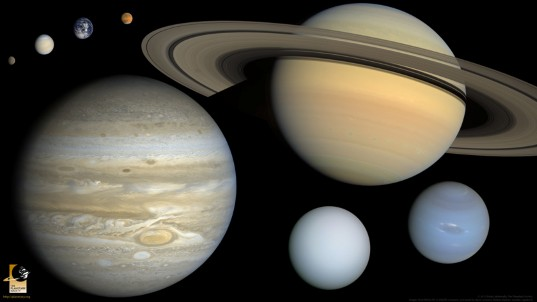 The eight planets, to scale (widescreen)