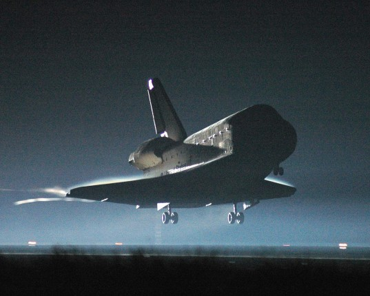 Atlantis approaches the runway