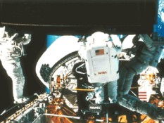 The first three-astronaut spacewalk