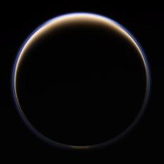 Crescent Titan with a cloud cap?