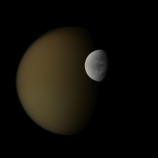 Dark Titan, bright Dione