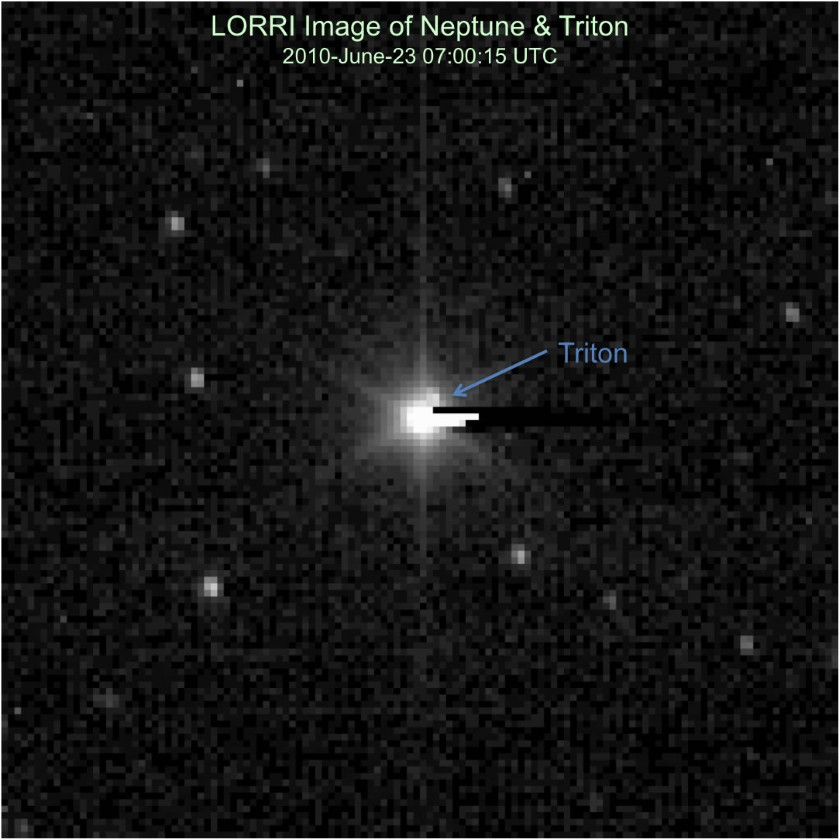Neptune and Triton from New Horizons, July 2010